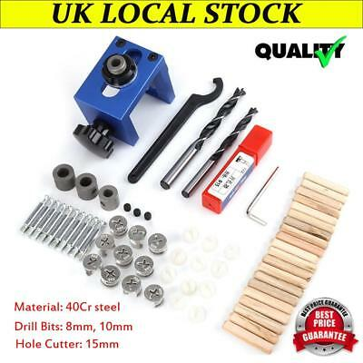 Wood Dowel Hole Drilling Guide Jig Drill Bit Kit Woodworking Positioner Locator.