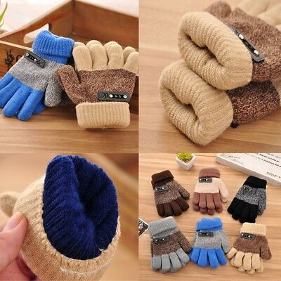 Winter Warm Kids Toddler Boys Girls Thick Thermal Gloves Mittens Contrast Color