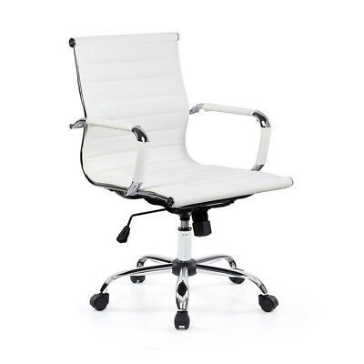 Ergonomic Adjustable Office Chair Executive Swivel PU Leather Medium Back Task