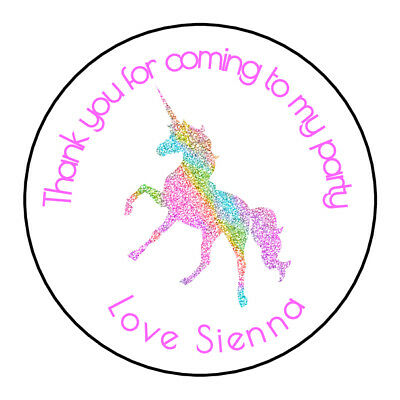Girls Unicorn Pink Personalised Thank You Sticker Party Bag Sweet Cone Birthday