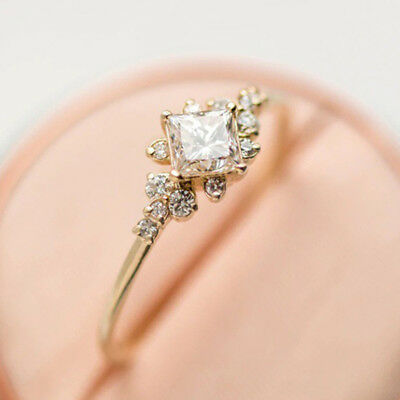 18k Yellow Gold Plated Rings for Women Princess Cut White Sapphire Size 6-10