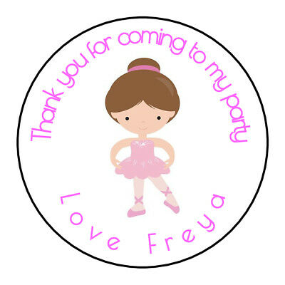 Cute Pink Ballerina Personalised Thank You Sticker Party