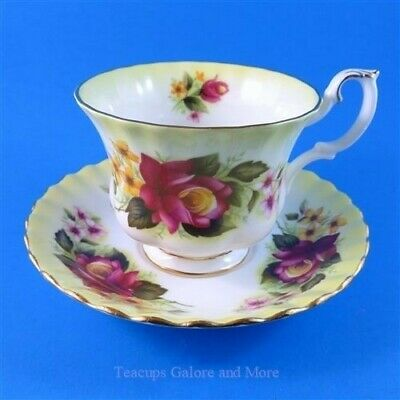 Royal Albert Variegated Yellow with Burgundy Rose Tea Cup and Saucer Set