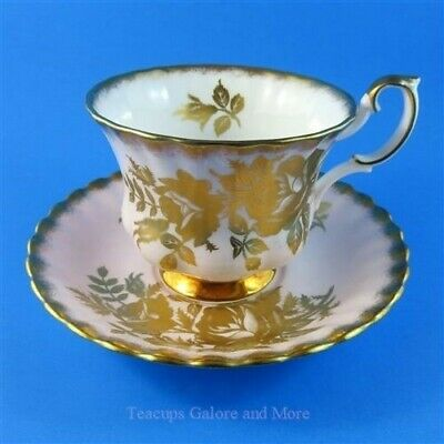 Royal Albert Vintage Series Gold Roses on Pale Pink Tea Cup and Saucer Set