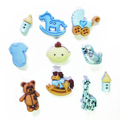 Childrens Buttons - Baby Boy - BLUE - Novelty Buttons Cake Decorations