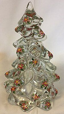 Christmas Holiday Tree - Crystal Handpainted Glass - Mosser USA - Large 8""