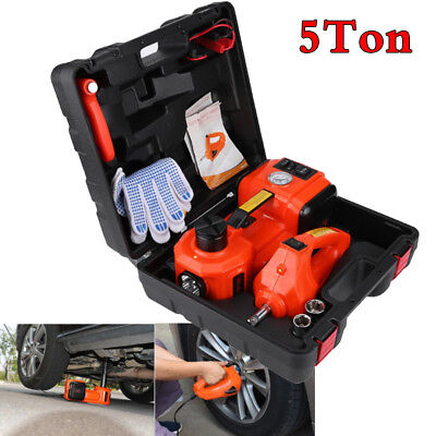12V 3-in-1 12V DC 5T Auto Car Electric Hydraulic Floor Jack Lift + Impact Wrench