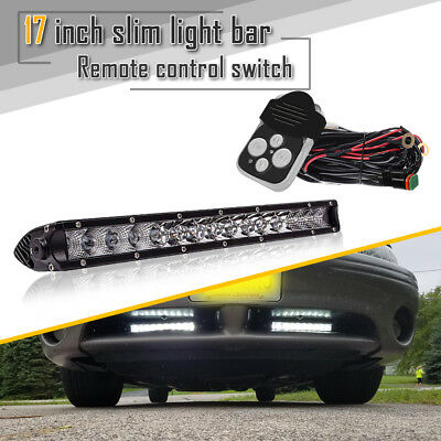 17inch 80W LED Single Row Bumper Work Light Bar Combo w/Wiring Harness For Chevy