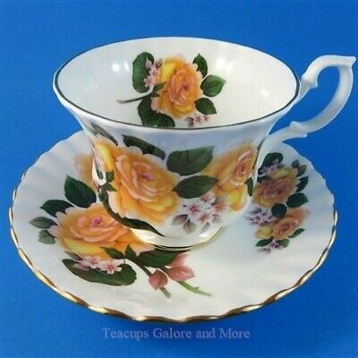 Royal Albert Pretty Yellow Orange Rose Bouquet Tea Cup and Saucer Set