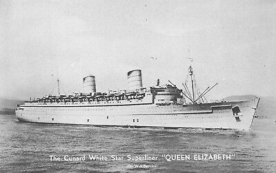 Postcard - Queen Elizabeth The Cunard White Star Superliner - Vintage Unused A09