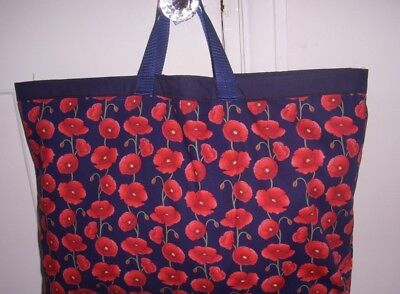 Knitting Bag Navy With Red Poppies Sewing Shopping Christmas Gift Storage Lined