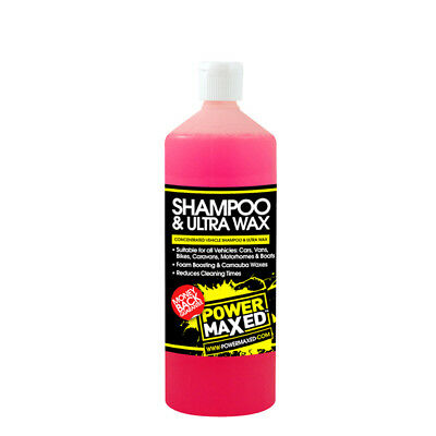 1L Car Wash Shampoo And Ultra Wax 1 Litre Concentrate - Power Maxed CSUWRTU
