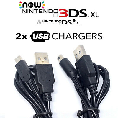 2x USB Charger Cables for charging Nintendo DSi NDSi DSI XL 2DS 3DS New 3DS LL
