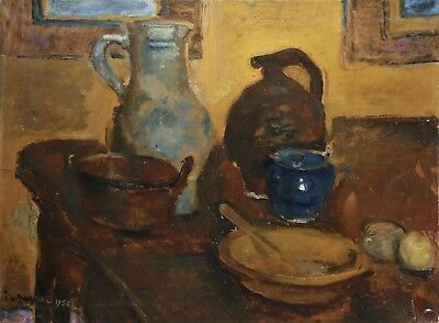 1950 Large Indistinctly Signed French Post Impressionist Oil Still Life Table