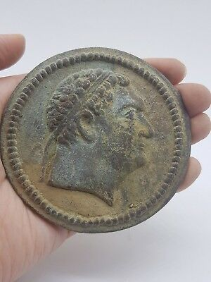Ancient old Greek Antique king face old bronze Big coin