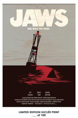 "18"" x 12""  Movie Giclee Art Print Poster Jaws 1975"