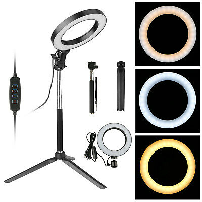 """6"""" LED Ring Light Camera Lamp w Tripod Stand Phone Holder for YouTube Video Live"""