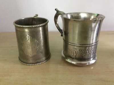 """(2) Antique SIlverplate Child's Cup """"W A & S"""" & Benedict,  Children Playing #324"""