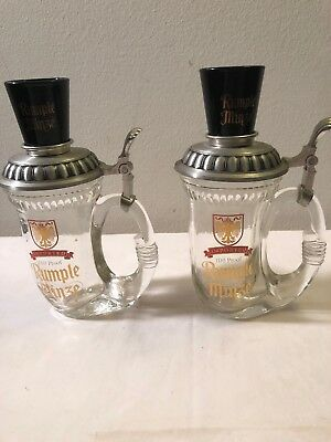 2 Rumple Minze Glass Beer Stein With holder and Shot Glass