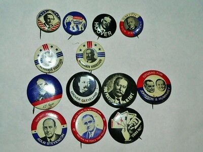 Lot of 13 Vintage Reproduction President Political Pinback Buttons ©1970's