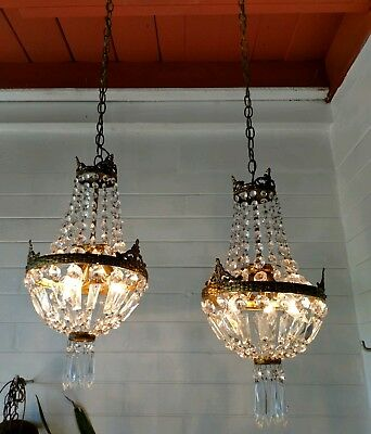 Pair Of Antique Italian Crystal Chandelier French Basket Style Ornate Brass