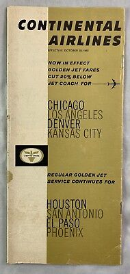 Airline Timetable Continental Airlines Oct 28 1962