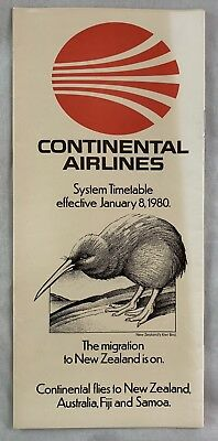 Airline Timetable Continental Airlines Jan 8 1980 New Zealand Kiwi Bird