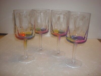 "-English Garden- Merritt- Acrylic ""Crystal"" Rainbow Wine Glasses  - Set of 4-New"