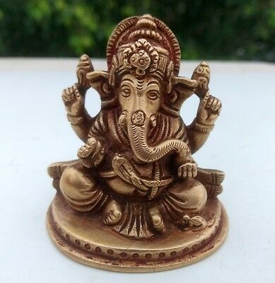 Old Vintage Brass Hand Carved Hindu God Elephant Ganesha Sculpture Statue Figure