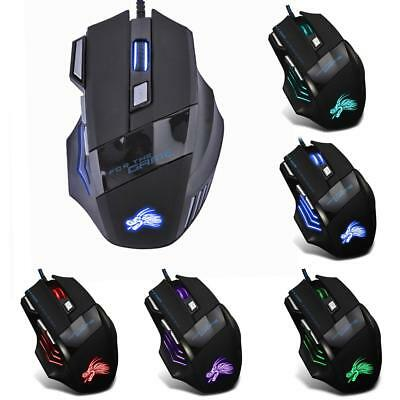 5500DPI LED 7 Buttons Gamer Laptop PC Mice Optical USB Wired Gaming Mouse Black