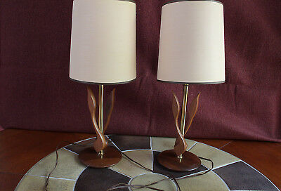 Pair of Mid Century Wolid Walnut Table Lamps with Shades cattails, ducks