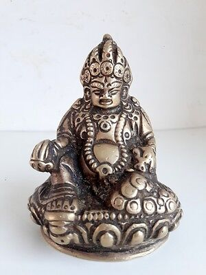 Antique Old Fine Carved Bronze Hindu Chinese Money Happiness God Figure Statue