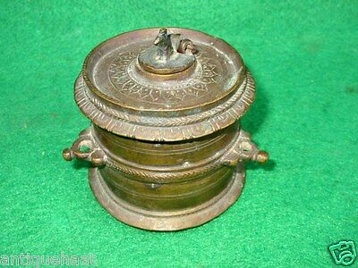 Antique Old Collectible Rare Solid Brass Hand Carved Unique South Indian Ink Pot