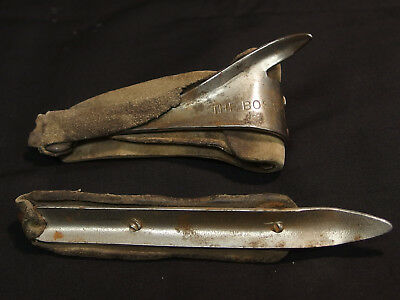 """Two Vintage Antique """"The Boss"""" Hand Corn Shuckers With Leather Straps"""