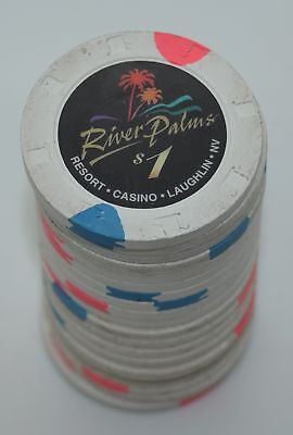 Set of 20 River Palms $1 Casino Chips Laughlin Nevada H&C Paul-son Mold 1998