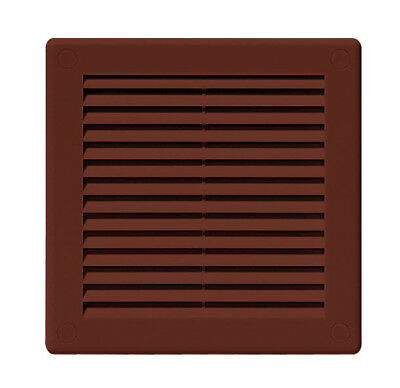 "Air Vent Grille Brown 250mm x 250mm with Insect Grid Louvred 10"" x 10"" TRU8BR"