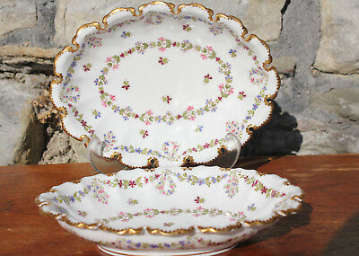 2 Antique Vintage Copeland Sweet Dishes / Trays T Goode & Co Spode Flowers Dish