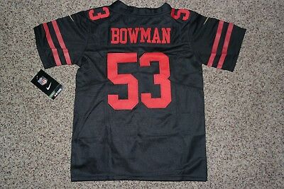91cf855e8 ... spain navorro bowman 53 san francisco 49ers black jersey youth small  d8a59 a23aa