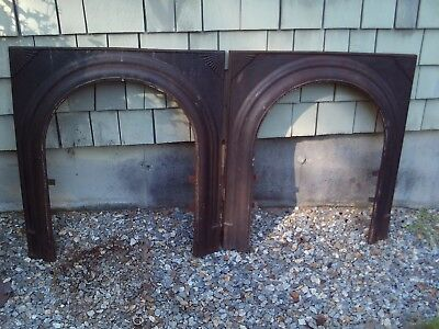 Antique Vintage Arched Cast Iron Fireplace Surround