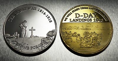 Pair Commemorative WW1 Armistice & WW2 Churchill D-Day Coins. 24ct Gold, Silver