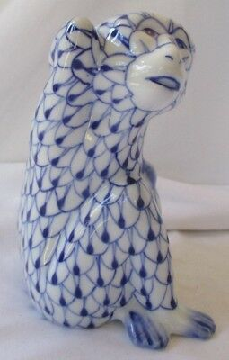 Hand Painted Blue And White Fishnet Monkey Figurine