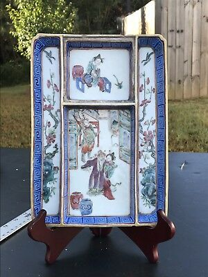 19th Century Antique Chinese Export Famille Rose Porcelain Figures Tray