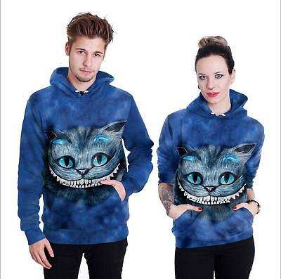 Unisex hoodie with pocket Funny Cheshire Cat printed Pullover hat hoodies M-2XL