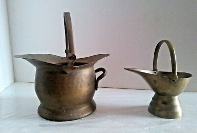 Vintage Brass Coal Scuttles Two Smalls India (hammered) & China (etched)