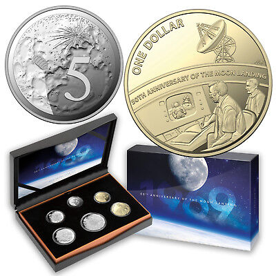 Australia 2019 6-Coin Proof Year Set 50th Anniversary Moon Landing Special 5c $1