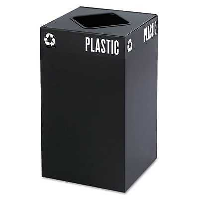 Safco Public Square Recycling Container Square Steel 25gal Black