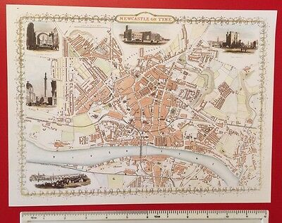 "Old Antique colour map Newcastle, England: c1850's: John Tallis: 9"" x 12.5"""