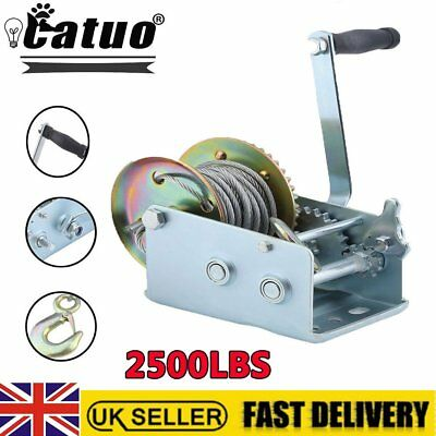 Manual Hand Crank Strap Gear Winch For Car Truck Boat Marine Trailer 2500lbs