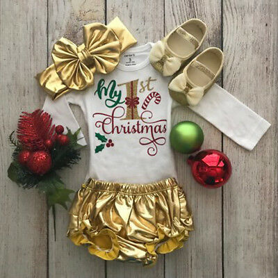AU Stock Newborn Baby Girls My First Christmas Romper+Tutu Pants Clothes Outfits
