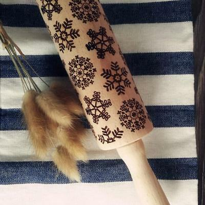 35/43cm Christmas Rolling Pin Engraved Carved Wood Embossed Family Kitchen Tool